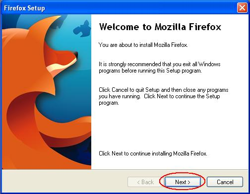 Firefox Setup Screen