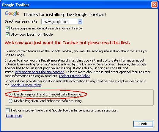 Google Toolbar Setup Screen
