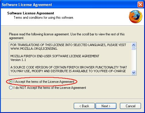 Firefox License Agreement Screen