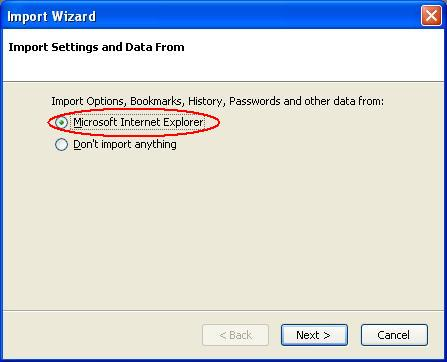 Firefox Import Wizard Screen