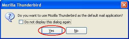 Thunderbird Default E-mail Client Confirmation Screen